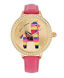 Women's Colored Alpaca Motif Pink Polyurethane Strap Watch 38mm