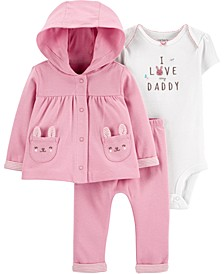 Baby Girls 3-Pc. Bunny Bodysuit, Hoodie & Pants Set