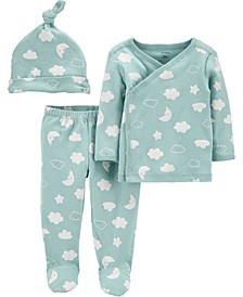 Baby Boys or Girls 3-Pc. Cloud-Print Cotton Top, Footed Pants & Hat Set