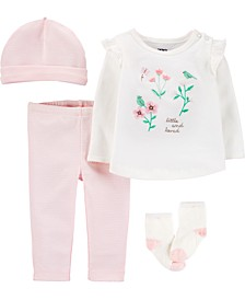 Baby Girls 4-Pc. Flower Bouquet Cotton Take-Me-Home Set