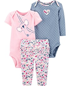 Little Girls 3-Pc. Koala Bodysuits & Floral-Print Pants Set