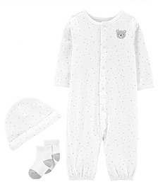 Baby Boys or Girls 3-Pc. Cotton Coverall, Hat & Socks Set