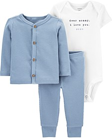 Baby Boys 3-Pc. Cotton Bodysuit, Cardigan & Pants Set