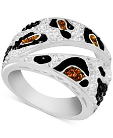 Crystal Animal Print Statement Ring in Fine Silver-Plate