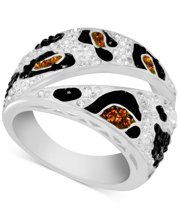 Essentials Crystal Animal Print Statement Ring in Fine Silver-Plate