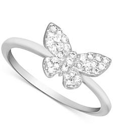Cubic Zirconia Butterfly Ring in Fine Silver-Plate