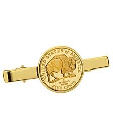 Gold-Layered Westward Journey Bison Nickel Coin Tie Clip