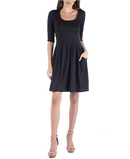 24seven Comfort Apparel Three Quarter Sleeve Fit and Flare Mini Dress