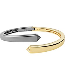 Two-Tone Sterling Silver Cubic Zirconia Bypass Bangle Bracelet