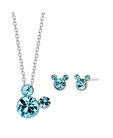 "Fine Silver Plated Crystal Birthstone Mickey Mouse Earring and Necklace Set, 16""+2"" Extender"