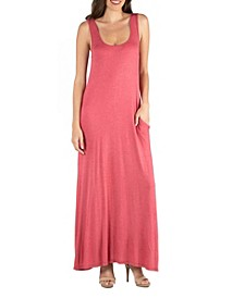 Scoop Neck Sleeveless Maxi Dress with Pockets