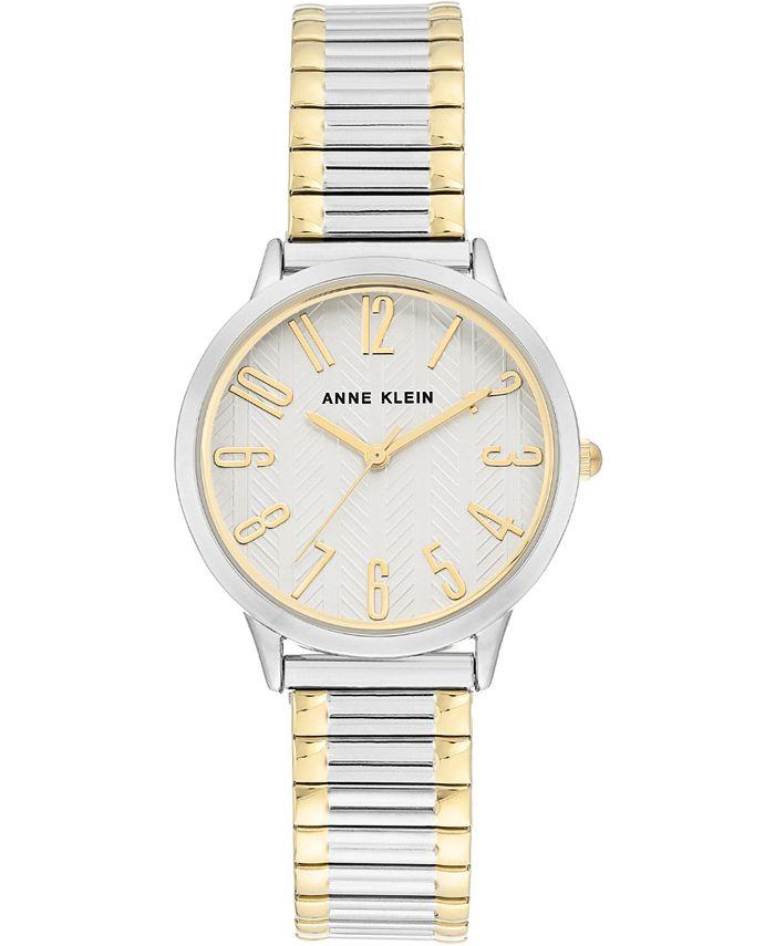 Anne Klein - Women's Two-Tone Stainless Steel Stretch Bracelet Watch 34mm