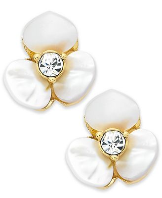 Kate Spade New York Earrings Gold Tone Cream Disco Pansy Flower