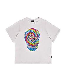 Men's Big Tall Tie-Dye Rhinestone Skull Print T-Shirt