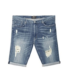 Men's Big Tall Distressed Wash Denim Shorts
