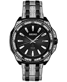 Men's Black and Silver Stainless Steel Bracelet Watch 44.5mm
