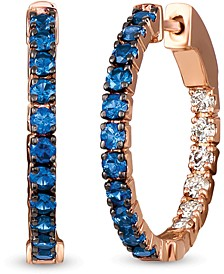 """Blueberry Sapphire (7/8 ct. t.w.) & Nude Diamond (1/3 ct. t.w.) Small In & Out Hoop Earrings in 14k Rose Gold, 0.8"""""""