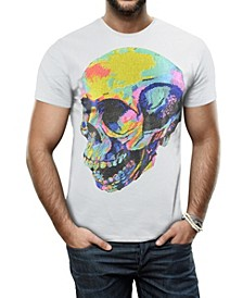 Men's Thermal Skull Graphic Printed Rhinestone Studded T-Shirt