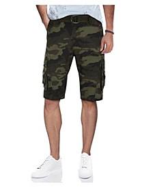 Men's Belted Snap Detail Cargo Shorts