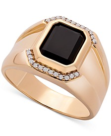 Men's Onyx & Diamond (1/20 ct. t.w.) Ring in 14k Gold-Plated Sterling Silver