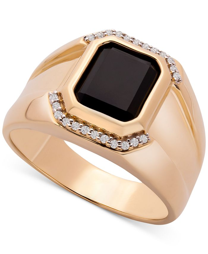 Macy's - Men's Onyx & Diamond (1/20 ct. t.w.) Ring in 14k Gold-Plated Sterling Silver