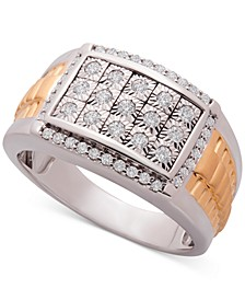 Men's Diamond Cluster Two-Tone Ring (1/2 ct. t.w.) in Sterling Silver & 14k Gold-Plate
