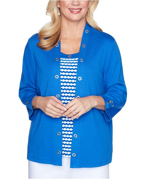 Alfred Dunner Petite Look On The Bright Side Layered-Look Top