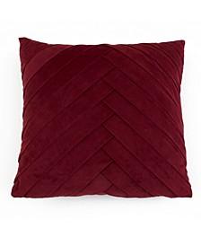20X20 James Pleated Velvet Pillow in Cabernet