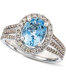 Le Vian® Sea Blue Aquamarine® (1-3/8 ct. t.w.) & Nude Diamond™ (5/8 ct. t.w.) Ring in 14k White Gold