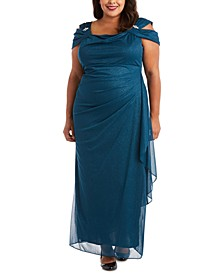 Plus Size Draped Cold-Shoulder Gown