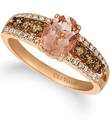 Peach Morganite (7/8 ct. t.w.) & Diamond (1/2 ct. t.w.) Ring in 14k Rose Gold