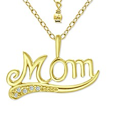 "Cubic Zirconia Accent ""Mom"" Pendant Necklace in 18k Gold-Plated Sterling Silver, 16"" + 2"" extender, Created for Macy's"