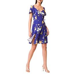 Eme Crepe Faux Wrap Dress