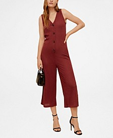 Buttons Ribbed Knit Jumpsuit