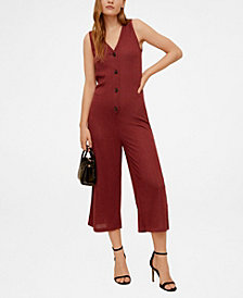 Mango Buttons Ribbed Knit Jumpsuit