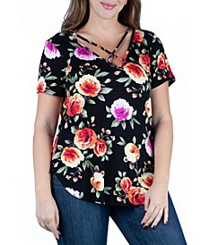 Women's Plus Size Floral Criss Cross Neckline Shirt
