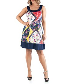 Women's Plus Size Patchwork Print Sleeveless Dress