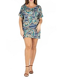 Women's Plus Size Paisley Loose Fitting T-shirt Dress