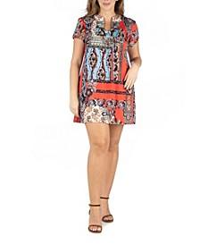 Women's Plus Size Square Neck Short Sleeve Mini Dress