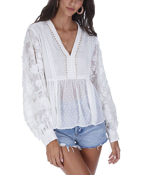 ALLISON NEW YORK Women's Floral Embroidered Top