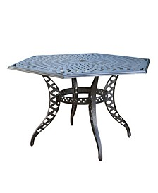 Cayman Traditional Outdoor Cast Hexagonal Dining Table