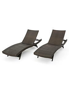Thira Outdoor Mixed Mocha Chaise Lounge with Frame, Set of 2