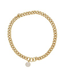 Crystal Disc Charm Chain Women's Necklace