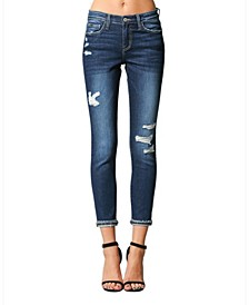 Mid Rise Distressed Layered Cuffed Hem Skinny Crop Jeans