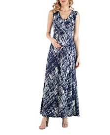 Maternity Brushstroke Print Empire Waist Maxi Dress