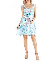 Ruffle Strap Floral Sleeveless Maternity Dress