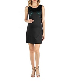 Scoop Neck Sleeveless Maternity Shift Dress with Bodice Detail