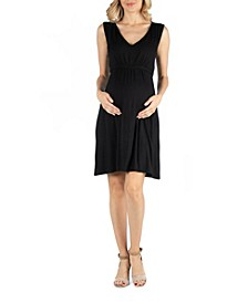 Sleeveless V Neck Empire Waist Maternity Cocktail Dress