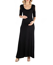 Half Sleeve Open Shoulder Maternity Maxi Dress