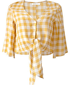 BCBGeneration Gingham Tie Crop Top